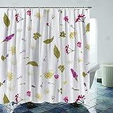 Juego de cortina de ducha de plantas de 183 x 182 cm, duradero e impermeable, juego de cortinas de ducha de secado rápido con 12 ganchos de plástico y alambre de plomo pesado
