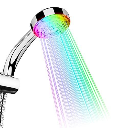TankerStreet LED Duschkopf Regendusche Handbrause mit Farbwechsel 7 Farben Licht Automatische Wasserhahn Wassersparend für Badezimmer Dekoration Sicher und Praktische 26.3x9.2x6.5cm