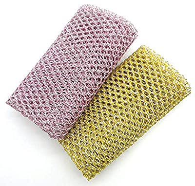 Beautiful Life Non-Scratch Heavy Duty Scouring Pad or Pot Scrubber Pads for Scouring Kitchen, Dishwashing, Cleaning   Nylon Mesh Scrubbing   Scrub Pads Cloth Outlast Any Sponges 2 Pack