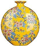 Jarrones Encimera Amarillo China Florero de Mano Ornamentos de la decoración de la Oficina para la Sala de Estar Florero de cerámica Florero de Estudio Arte Chino 34x32cm XMJ