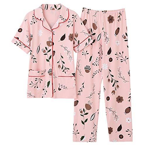 DFDLNL Conjuntos de Pijamas de Verano para Mujer con Pantalones Pijama de Manga Corta con Cuello Vuelto Pijama con Botones de Flores pequeñas + Pantalones Pijamas M