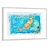 artboxONE Poster mit Rahmen Silber 75x50 cm Fuerteventura