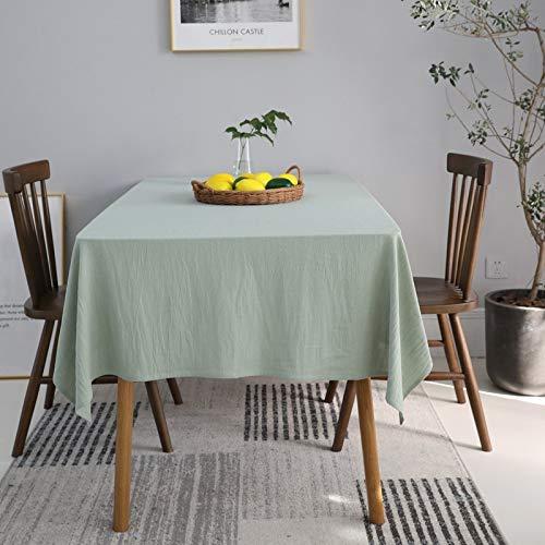 DJUX - Mantel rectangular de lino lavado, tamaño pequeño, 130 x 180 cm, 130 x 220 cm, Matcha, 130*220cm