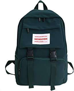 Fashion Wild Solid Color School Bag, 13-18 Students Large Capacity Waterproof Breathable Light Comfortable Schoolbag, Teen Boy Girl Nylon Backpack,DarkGreen