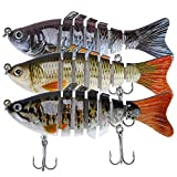 Lifelike Fishing Lures for Bass, Trout, Walleye, Predator Fish – Realistic Multi Jointed Fish Popper Swimbaits – Spinnerbaits Lure Fishing Tackle Kits – Freshwater and Saltwater Crankbaits – 3 Pack