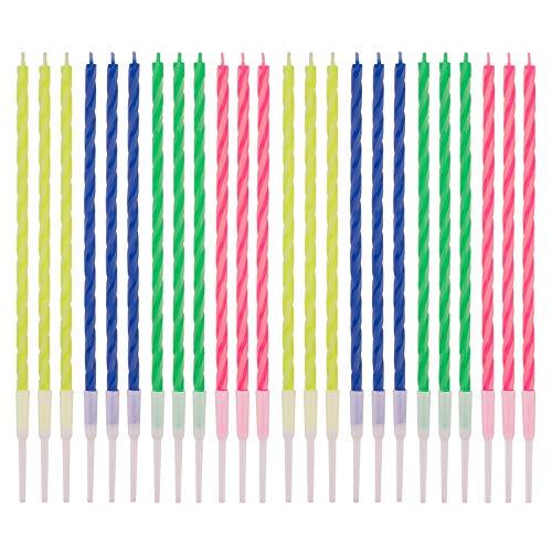 LUTER 24 Pzs Velas de Cumpleaños de Rayas de Colores con Soportes...