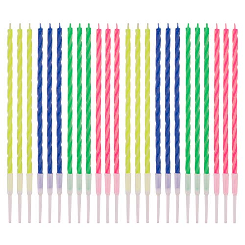 LUTER 24 Pcs Colorful Striped Birthday Candles with Detachable Holders Colorful Birthday Cake Candles Long Thin Cupcake Candles for Birthday Wedding Party Decoration