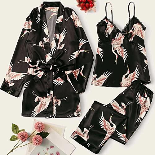 MWBLN Pijama,Conjunto de Bata de rayón para Mujer 3PCS, Kimono Albornoz Vestido de Noche Camisón Informal Ropa de Dormir.XXL Negro
