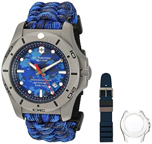 Victorinox Swiss Army Men's I.N.O.X. Titanium Swiss-Quartz Diving Watch with Nylon Strap, Blue, 23 (Model: 241813)