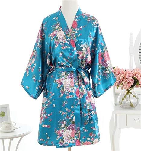 YRTHOR Blumen-Rayon-Satin-Nachtwäsche, Kimono-Kleid, Bademantel, Braut,...