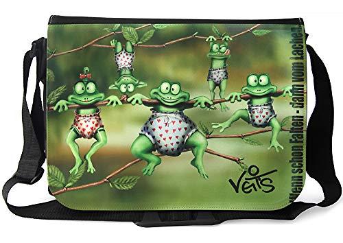 Veit'S lustige Schultertasche Schultasche College Tasche mit Motiv Kleiner Frosch - TAB0158
