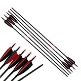 Linkboy Archery Pure Carbon Arrows Spine 300 340 400 500 600 700 800 for Compound Recurve Bow Hunting Shooting Target 12pcs