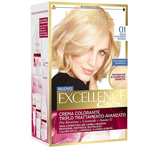 3 X L'OREAL EXCELLENCE CREME 01 BIONDO ULTRA CHIARO NATURALE Tintura capelli