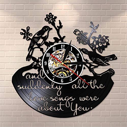 LBJZD Reloj de Pared Y De Repente Todas Las Canciones De Amor Eran sobre Ti Cita Inspiradora Disco De Vinilo Reloj De Pared Valentine Birds Retro Wall Sin Luz Led