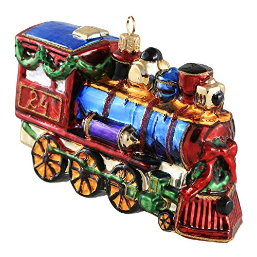 Miss Christmas 2020 Collection Holiday Express Toy Train Blown Glass Christmas Tree Ornament (Classic Blue)