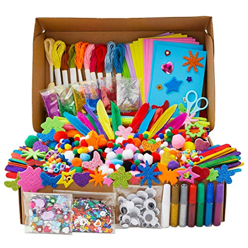 Art and Craft Supplies Kit for Kids, Glitter Glue, Feathers, Foam, Beads (1000 Piece Set)