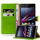 Cadorabo Hülle für Sony Xperia Z1 - Hülle in Gras GRÜN – Handyhülle im Luxury Design mit Kartenfach & Standfunktion - Case Cover Schutzhülle Etui Tasche Book