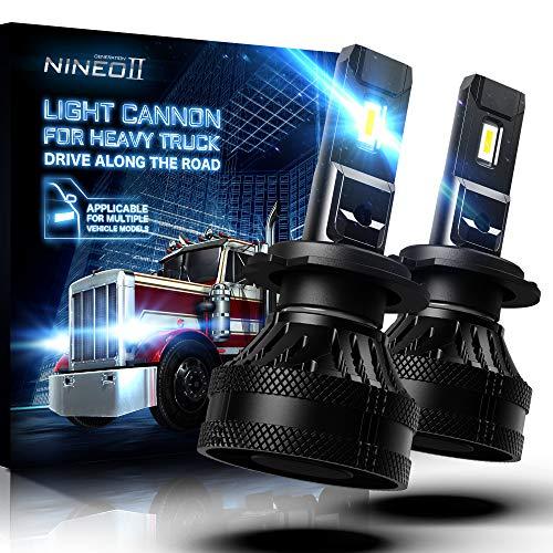 NINEO 55W H7 LED Headlight Bulbs w/20000LM | Magnetic Levitation Dual Ball Bearing Fan Design | Conversion Kit 6500K Cool White