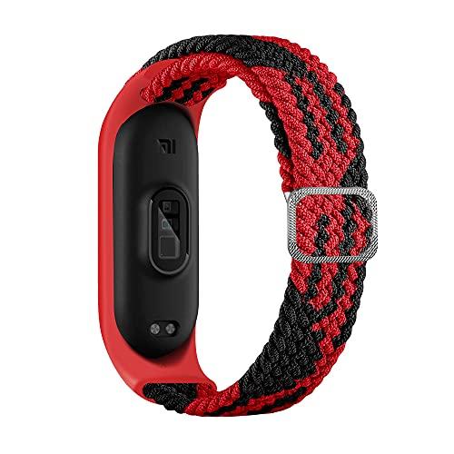 BoLuo Correa para Xiaomi Mi Band 6,Bandas De Correa Repuesto,Correas Reloj, Nylon Reloj Recambio Brazalete Correa Repuesto Strap Wristband para Xiaomi Mi Band 6 5 4 3 Accessories (negro rojo)