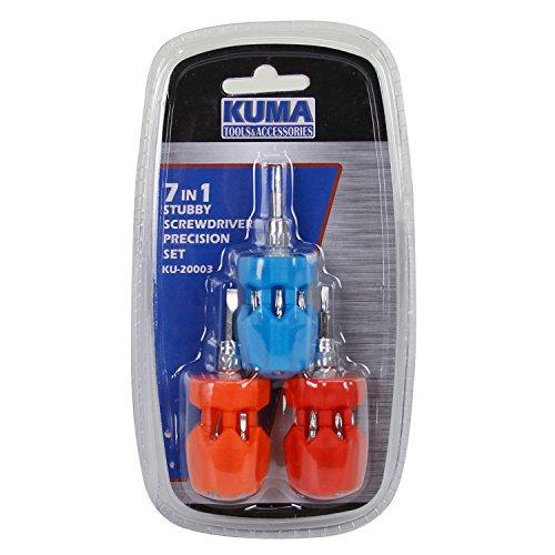 KUMA KU-20003 3-Piece 7 In 1 Stubby Multi-Bit Drivers Pocket Precision Screwdriver Set Tool Kit