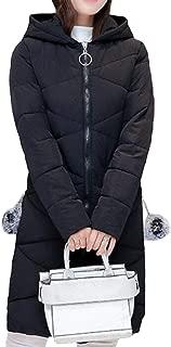 Womens Down Coat Long Sleeve Zipper Hood Mid Long Overcoats Tops Overcoats