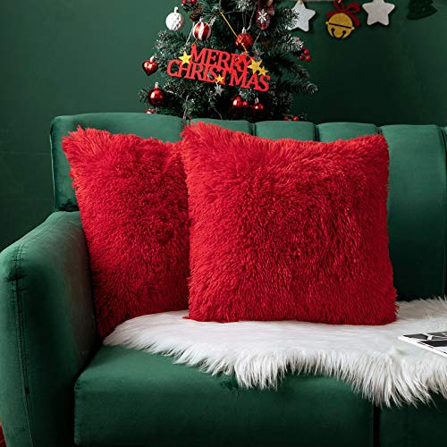 MIULEE Navidad Juego de 2 Cojines Pelo Protectores Faux Fur Throw Funda de cojín Deluxe Home Decorativo Cuadrados y Suaves Cojines PeloPara la Hogar Sofá Cama del 45x45cm Rojo