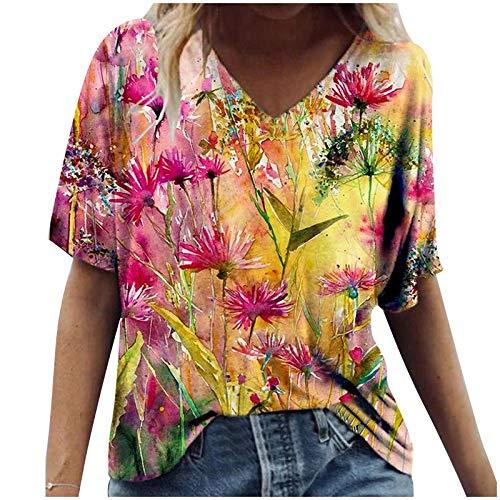 Camiseta casual de manga corta con cuello en V y estampado floral vintage para verano, camisetas básicas cómodas, blusa S-3XL