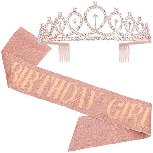 SNOWIE SOFT® Birthday Headpiece Girl Tiara Headband Birthday Girl Glitter Crown Rhinestone Crystal Birthday Tiara Crown Gold...
