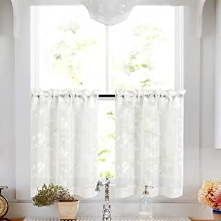 Tier Curtains White 24 Inch Length Kitchen Cafe Floral Embroidered Sheer Window Curtain Set for Bathroom Semi Sheer Curtains Voile Floral Drapes Rod Pocket 2 Panels