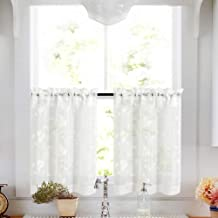 Tier Curtains White 36 Inch Length Kitchen Cafe Floral Embroidered Sheer Window Curtain Set for Bathroom Semi Sheer Curtains Voile Floral Drapes Rod Pocket 2 Panels