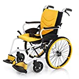 Y-L Rollstuhl, Behinderter Rollstuhl Tragbar, Leichter Rollstuhl Faltbar, Gelb, Rollstuhl-Rückenlehne Ergonomisch, Geeignet für Den Innen- und Außenbereich, b, b -