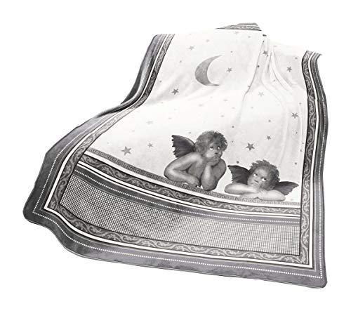 JACK Fleuresse kuschlige Raffael Engel XXL Wohndecke 150 x 200 cm Flausch Microfaser Kuscheldecke Decke, Farbe:Grau