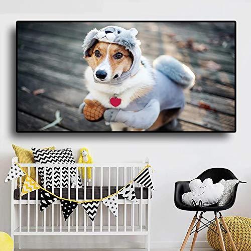Impresin en lienzo Ropa de cachorro divertida Disfraz Carteles e impresiones de perros Pintura de animales Imagen de pared nrdica para la decoracin de la habitacin de los nios-40x80cm Sin marco