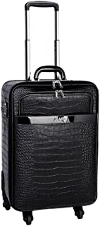 Jinzhuang Real Cowhide Leather Crocodile Pattern Spinner Black Travel Suitcase - 16''