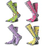 Womens Snow Ski Socks 4 Pack (Rose Red + Yellow + Purple + Lime...