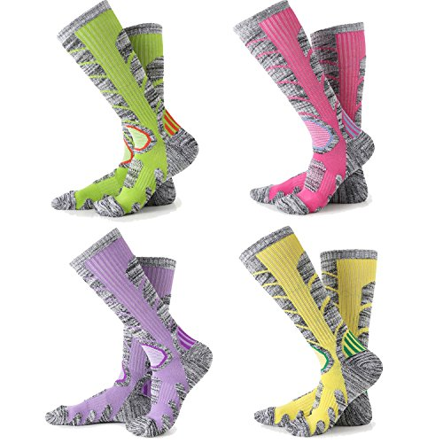 Womens Snow Ski Socks 4 Pack (Rose Red + Yellow + Purple + Lime Green) M