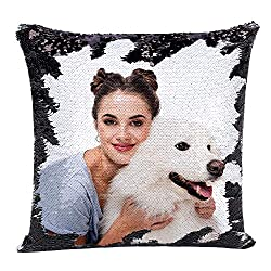 Black Sequin Personalized Pillow Cover with Your Photos
