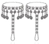 2 Pcs Antique Silver Coin Anklet Chain Beach Wedding Barefoot Sandals Fashion Jewelry,Silver_Style 10