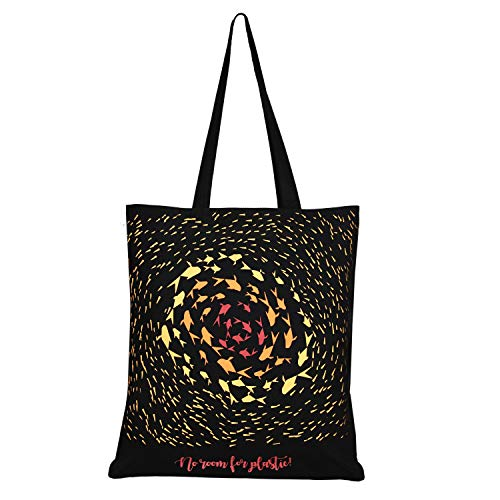 EONO Cotton Canvas Tote Bag Reusable Shopping Bag | Grocery Shoulder Bags | Eco-friendly Gifts for Women, Kids, Girls | Handbags | Printed No Room For Plastic - Black | 0102A04