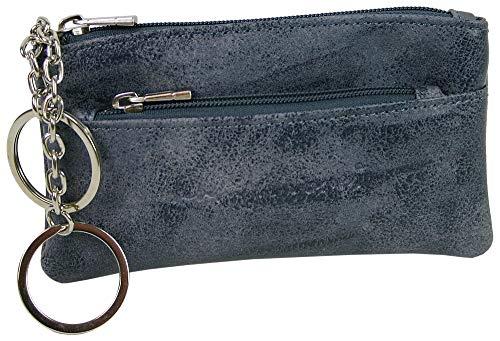 Schlüsselmäppche Kleine Schlüsseltasche mit Reißverschluss Extrafach und 2 Schlüsselketten (Grau)