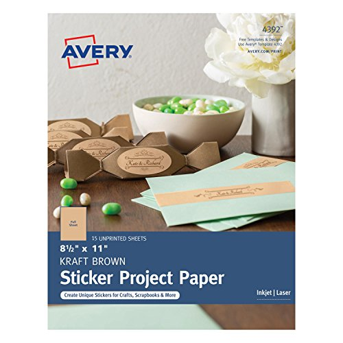 Avery Full-Sheet Sticker Paper, Kraft Brown