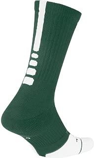 Elite Crew 1.5 Team Basketball Socks Large (Men Size 8-12) Green White SX7035-341