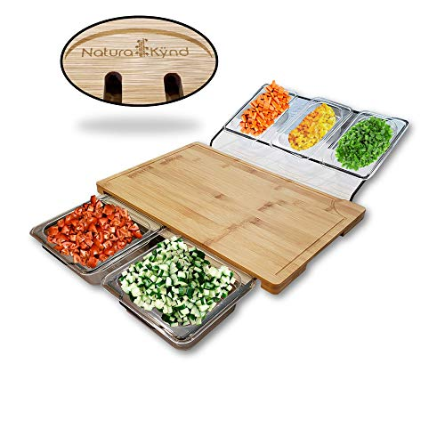 Chef Large Bamboo Cutting Board, Includes 5 Food Pan Containers with Lids Set, Elegant Juice Groove Design, Integrated Side Handle, Use as a Serving or Chopping Board.