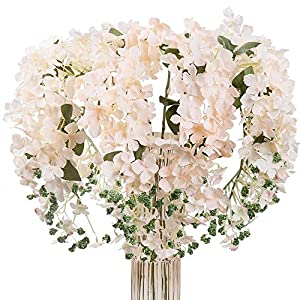 JARELING 6pcs Artificial Silk Hydrangea Flowers Long Stems Fake Flowers for Tall Vase Wedding Vine Hanging Garlands Flower for Home Office Arch Party Decoration