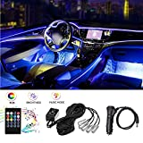 HALOYIVGO Car LED Strip Light, Music RGB Car Interior Lights - 5 in 1 with 6 meters/236.22 inch Fiber Optic - Multicolor Decor Atmosphere Lights, Sound Rhythm Induction and Wireless Remote Control