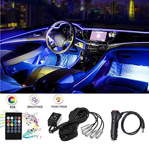 Car LED Strip Light,RGB Multicolor Car Interior Lights - 5 in 1 with 236.22 inch Fiber Optic,Atmosphere Ambient Lighting Kits, Music Rhythm Sound Induction Function and Remote Control Wireless
