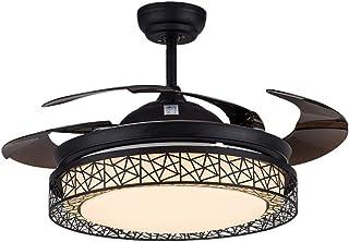 TangMengYun Hogar Ventilador Techo Nido de pájaro Moderno Ventilador de Techo Plegable Negro Accesorios de Luces Hoja Invisible Led Lámpara de Ventilador de Techo Control Remoto