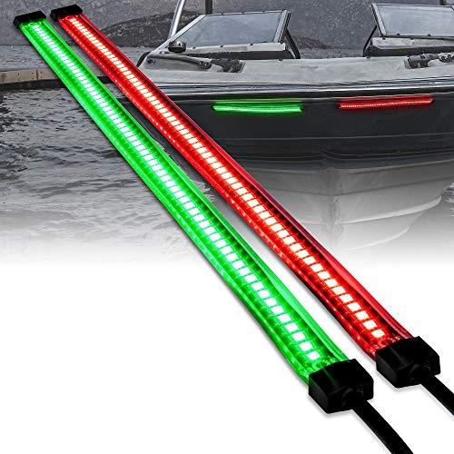 Red Green LED Marine Navigation Light Strips for Boats [66/132 LEDs Per Strip] [Single/Dual Row] [IP68 Waterproof] [Flexible Housing] Navigation Boat Bow Light for Kayak Pontoon Bass Fishing Boat