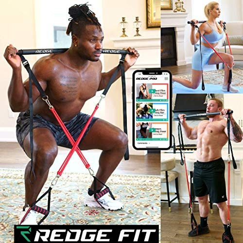Redge Fit Complete Portable Home Gym Workout Set I Resistance Bands for Beginners to Elite Athletes I Collapsible Resistance Bar I Full Body Workouts from Home Gym or Park I Upgraded Bands (6 Bands)