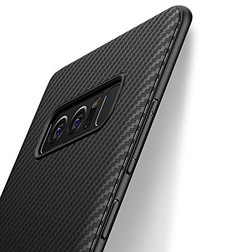 Cover Samsung Galaxy Note 8 J Jecent Custodia Samsung Galaxy Note 8 Look in Fibra di Carbonio di Protezione in Morbida Silicone TPU [Anticaduta Antiscivolo Antigraffio Antiurto] Case - Nero